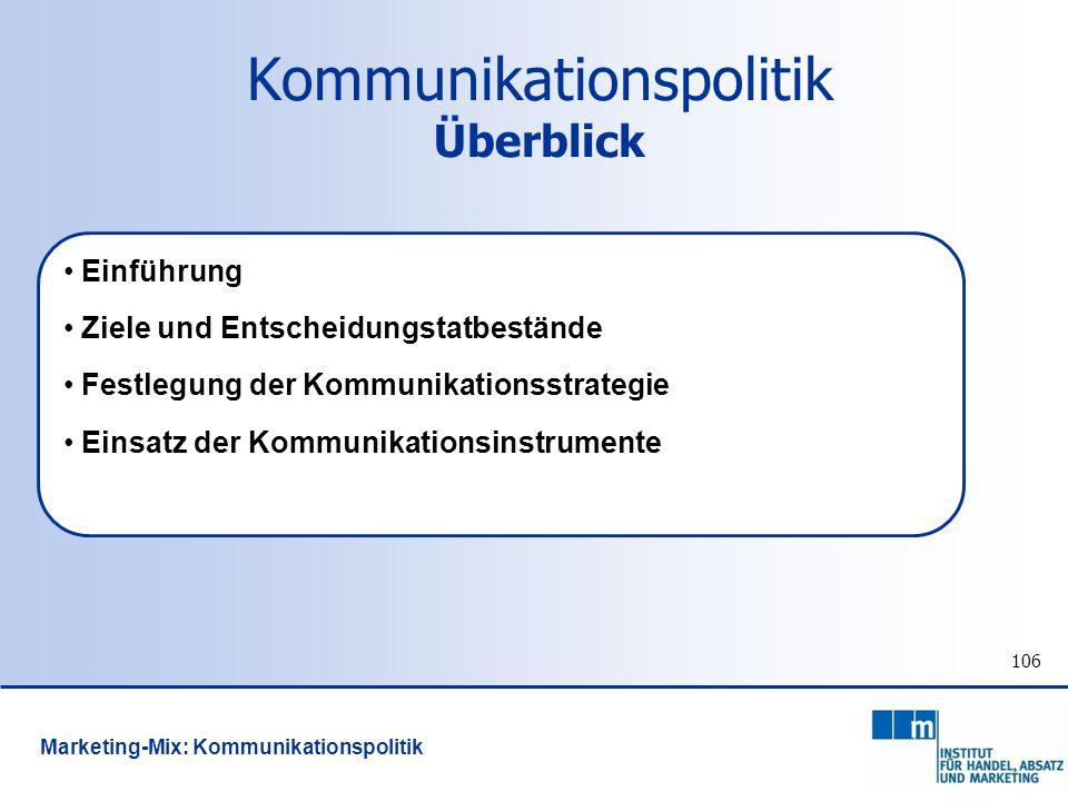 106 Kommunikationspolitik Überblick Einführung Ziele und Entscheidungstatbestände Festlegung der Kommunikationsstrategie Einsatz der Kommunikationsins