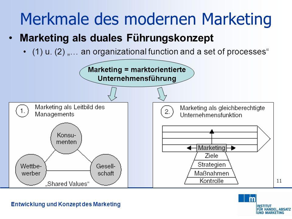 11 Marketing als duales Führungskonzept (1) u. (2) … an organizational function and a set of processes Marketing = marktorientierte Unternehmensführun
