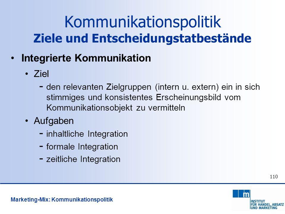 110 Integrierte Kommunikation Ziel - den relevanten Zielgruppen (intern u. extern) ein in sich stimmiges und konsistentes Erscheinungsbild vom Kommuni