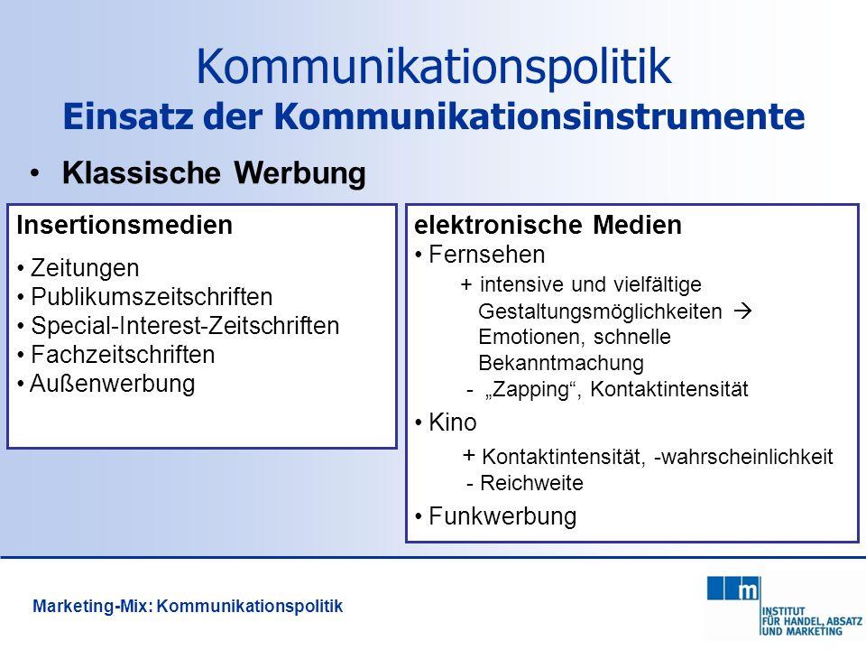 114 Kommunikationspolitik Einsatz der Kommunikationsinstrumente Klassische Werbung Insertionsmedien Zeitungen Publikumszeitschriften Special-Interest-