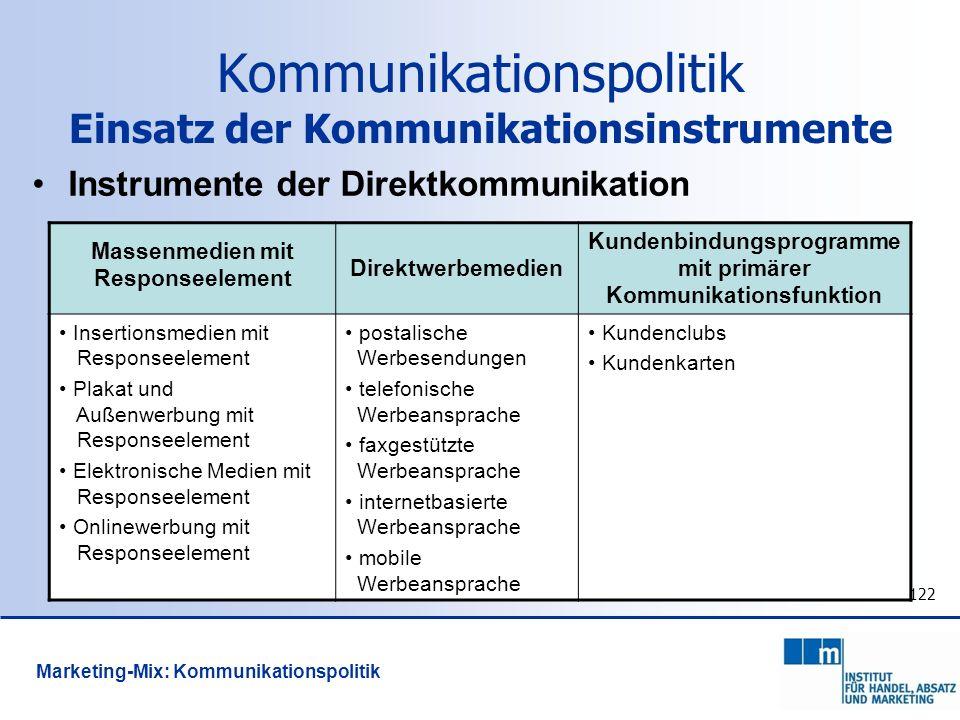 122 Instrumente der Direktkommunikation Massenmedien mit Responseelement Direktwerbemedien Kundenbindungsprogramme mit primärer Kommunikationsfunktion