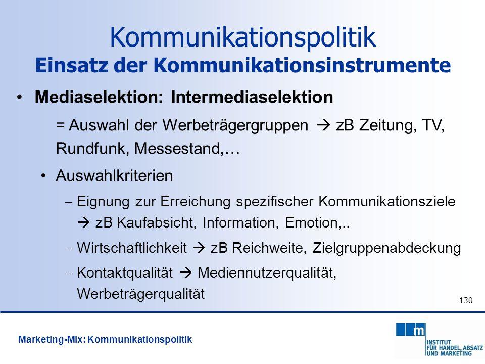 130 Mediaselektion: Intermediaselektion = Auswahl der Werbeträgergruppen zB Zeitung, TV, Rundfunk, Messestand,… Auswahlkriterien Eignung zur Erreichun