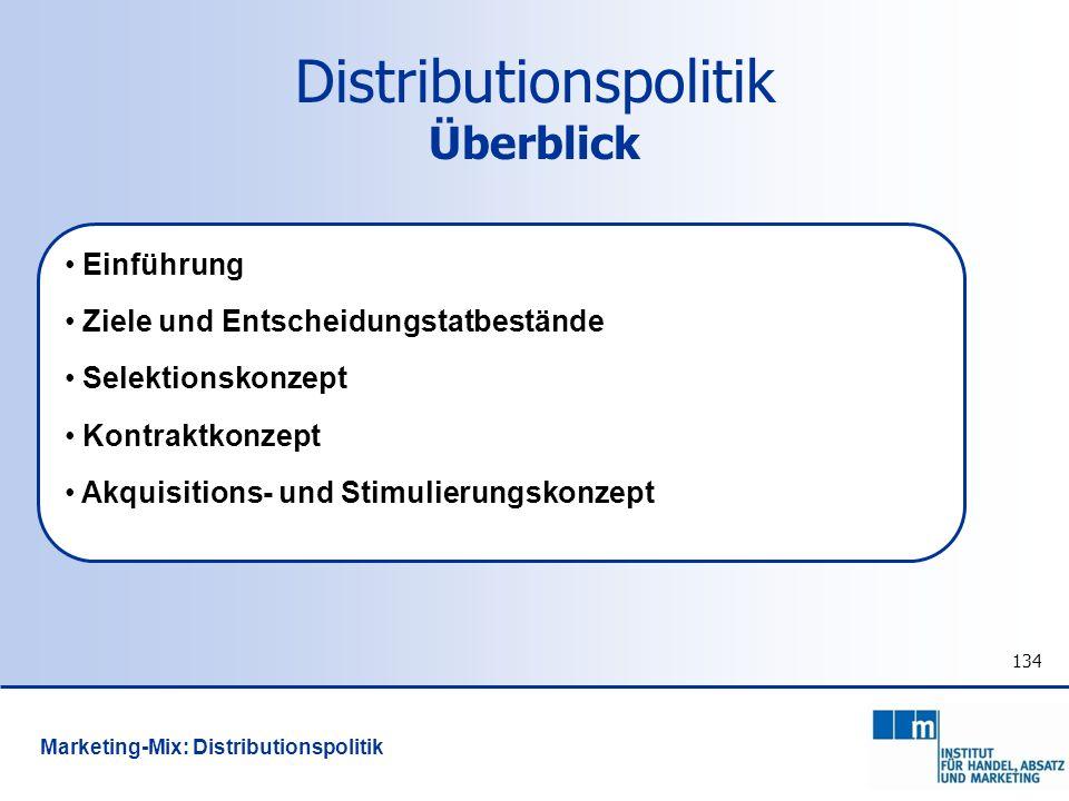 134 Distributionspolitik Überblick Einführung Ziele und Entscheidungstatbestände Selektionskonzept Kontraktkonzept Akquisitions- und Stimulierungskonz