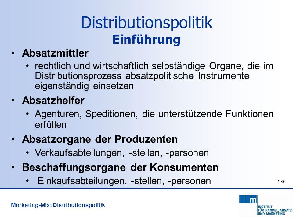 136 Absatzmittler rechtlich und wirtschaftlich selbständige Organe, die im Distributionsprozess absatzpolitische Instrumente eigenständig einsetzen Ab