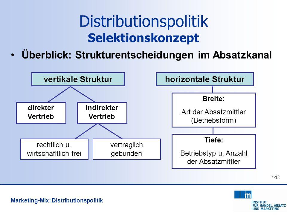 143 Überblick: Strukturentscheidungen im Absatzkanal vertikale Strukturhorizontale Struktur direkter Vertrieb indirekter Vertrieb rechtlich u. wirtsch