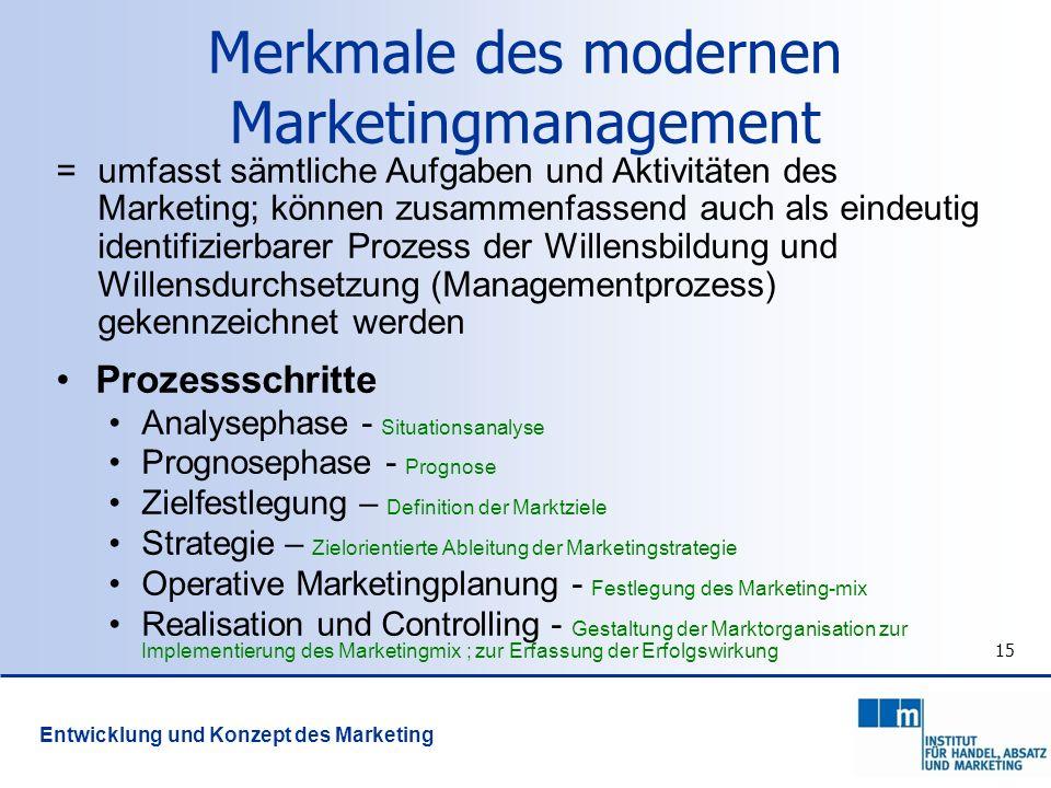 15 = umfasst sämtliche Aufgaben und Aktivitäten des Marketing; können zusammenfassend auch als eindeutig identifizierbarer Prozess der Willensbildung