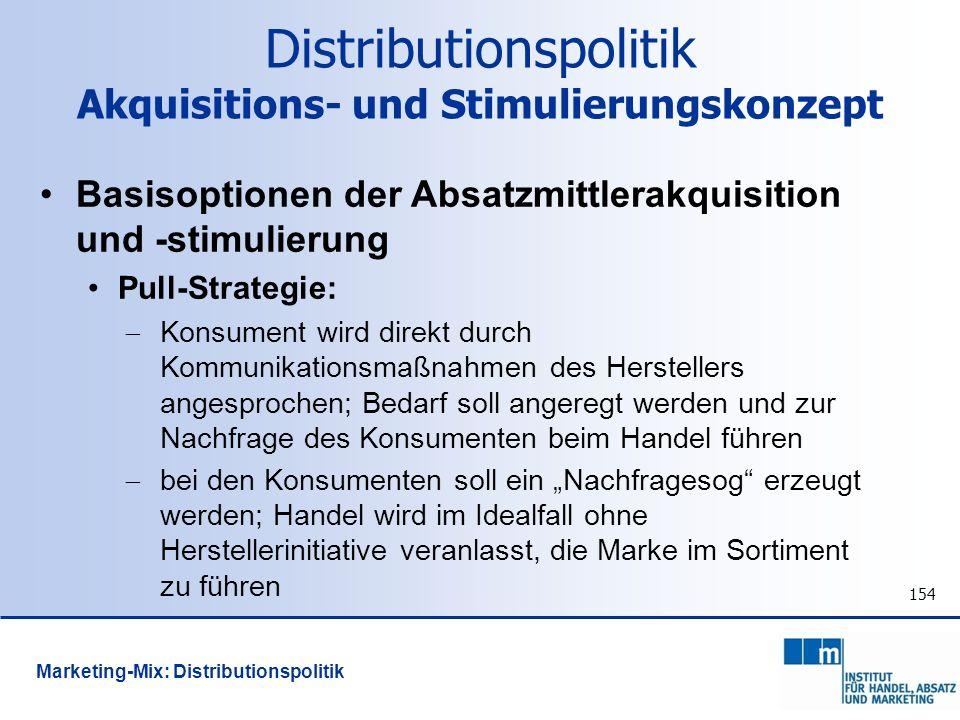 154 Distributionspolitik Akquisitions- und Stimulierungskonzept Basisoptionen der Absatzmittlerakquisition und -stimulierung Pull-Strategie: Konsument