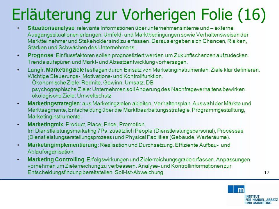 Erläuterung zur Vorherigen Folie (16) Situationsanalyse: relevante Informationen über unternehmensinterne und – externe Ausgangssituationen erlangen.