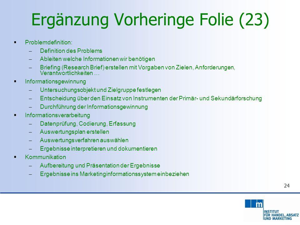 Ergänzung Vorheringe Folie (23) 24 Problemdefinition: Definition des Problems Ableiten welche Informationen wir benötigen Briefing (Research Brief) er