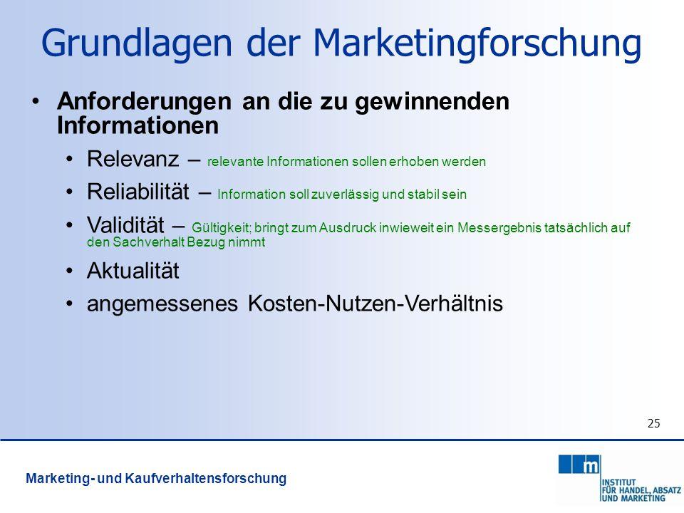 25 Grundlagen der Marketingforschung Anforderungen an die zu gewinnenden Informationen Relevanz – relevante Informationen sollen erhoben werden Reliab