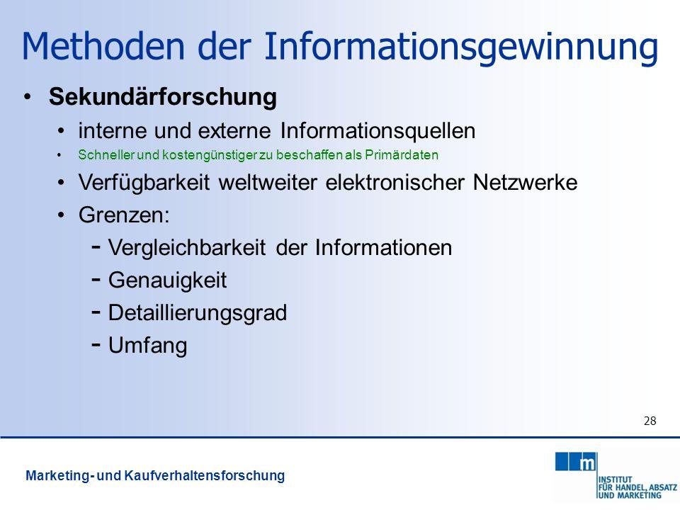 28 Methoden der Informationsgewinnung Sekundärforschung interne und externe Informationsquellen Schneller und kostengünstiger zu beschaffen als Primär