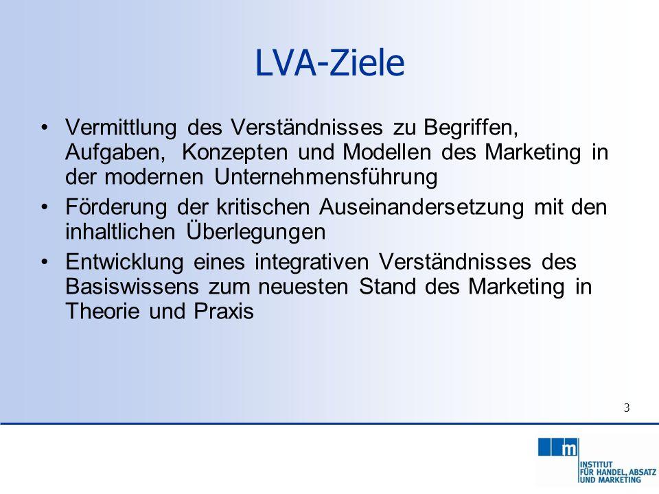 3 LVA-Ziele Vermittlung des Verständnisses zu Begriffen, Aufgaben, Konzepten und Modellen des Marketing in der modernen Unternehmensführung Förderung