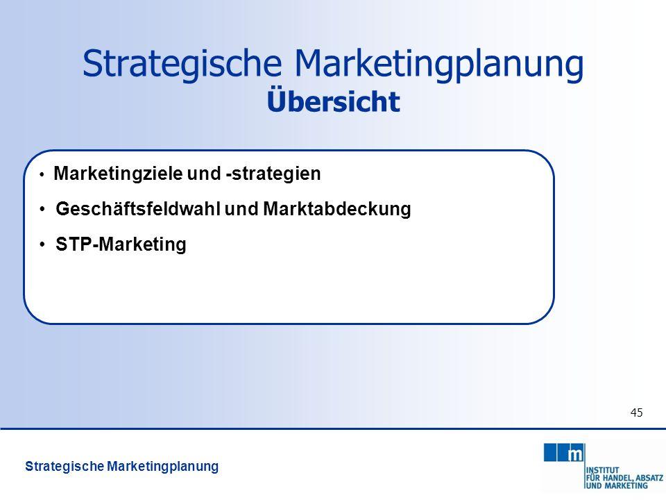 Strategische Marketingplanung Übersicht 45 Marketingziele und -strategien Geschäftsfeldwahl und Marktabdeckung STP-Marketing Strategische Marketingpla