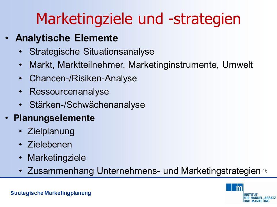 46 Marketingziele und -strategien Analytische Elemente Strategische Situationsanalyse Markt, Marktteilnehmer, Marketinginstrumente, Umwelt Chancen-/Ri