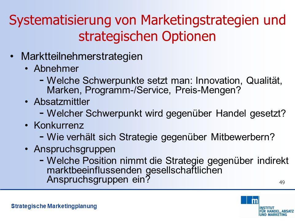 Systematisierung von Marketingstrategien und strategischen Optionen Marktteilnehmerstrategien Abnehmer - Welche Schwerpunkte setzt man: Innovation, Qu