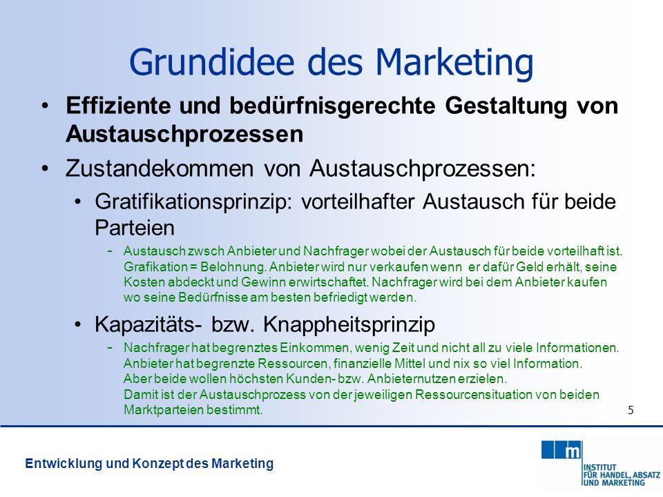 5 Grundidee des Marketing Effiziente und bedürfnisgerechte Gestaltung von Austauschprozessen Zustandekommen von Austauschprozessen: Gratifikationsprin