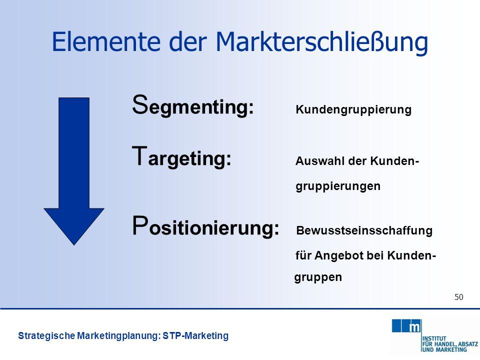 50 Strategische Marketingplanung: STP-Marketing Elemente der Markterschließung S egmenting: Kundengruppierung T argeting: Auswahl der Kunden- gruppier