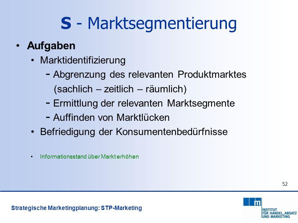52 Aufgaben Marktidentifizierung - Abgrenzung des relevanten Produktmarktes (sachlich – zeitlich – räumlich) - Ermittlung der relevanten Marktsegmente