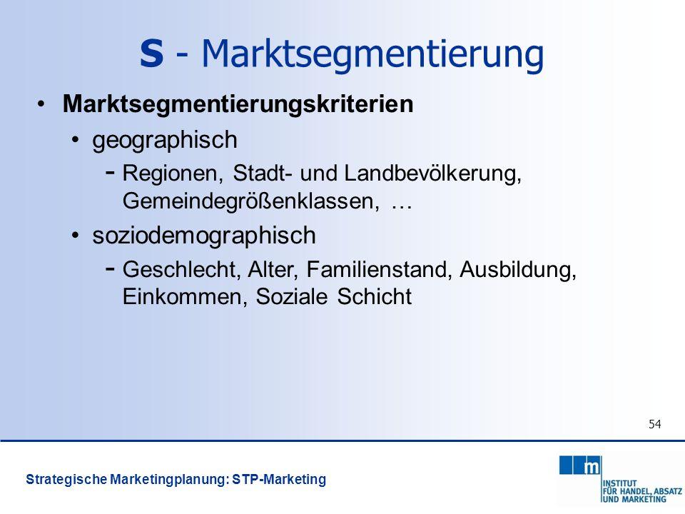 54 Marktsegmentierungskriterien geographisch - Regionen, Stadt- und Landbevölkerung, Gemeindegrößenklassen, … soziodemographisch - Geschlecht, Alter,