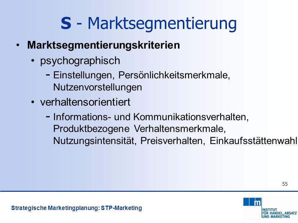 55 Marktsegmentierungskriterien psychographisch - Einstellungen, Persönlichkeitsmerkmale, Nutzenvorstellungen verhaltensorientiert - Informations- und