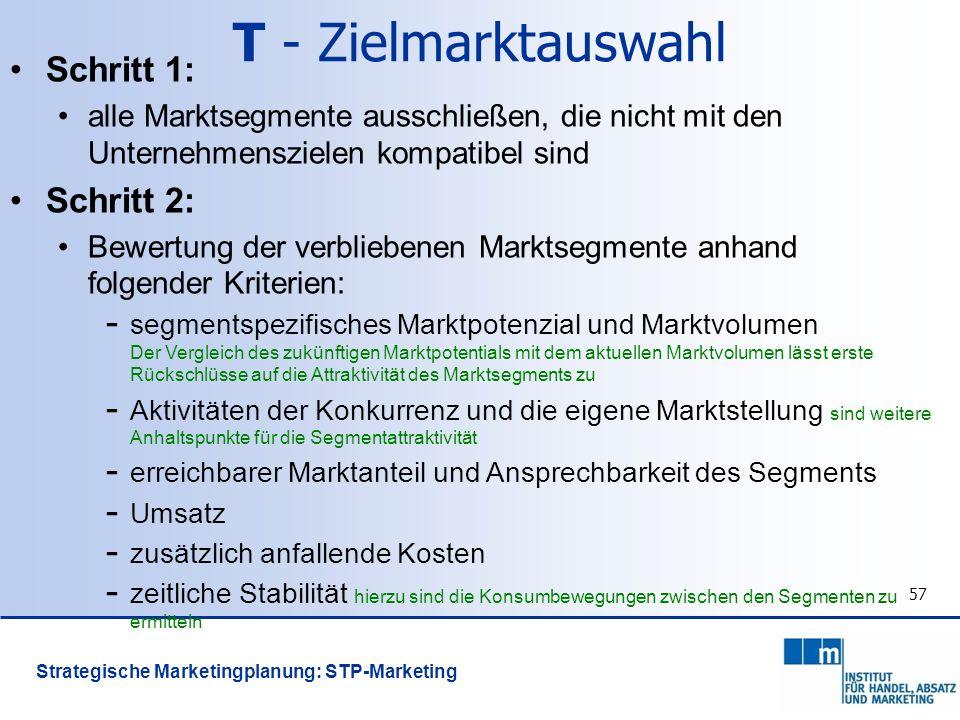 57 T - Zielmarktauswahl Schritt 1: alle Marktsegmente ausschließen, die nicht mit den Unternehmenszielen kompatibel sind Schritt 2: Bewertung der verb