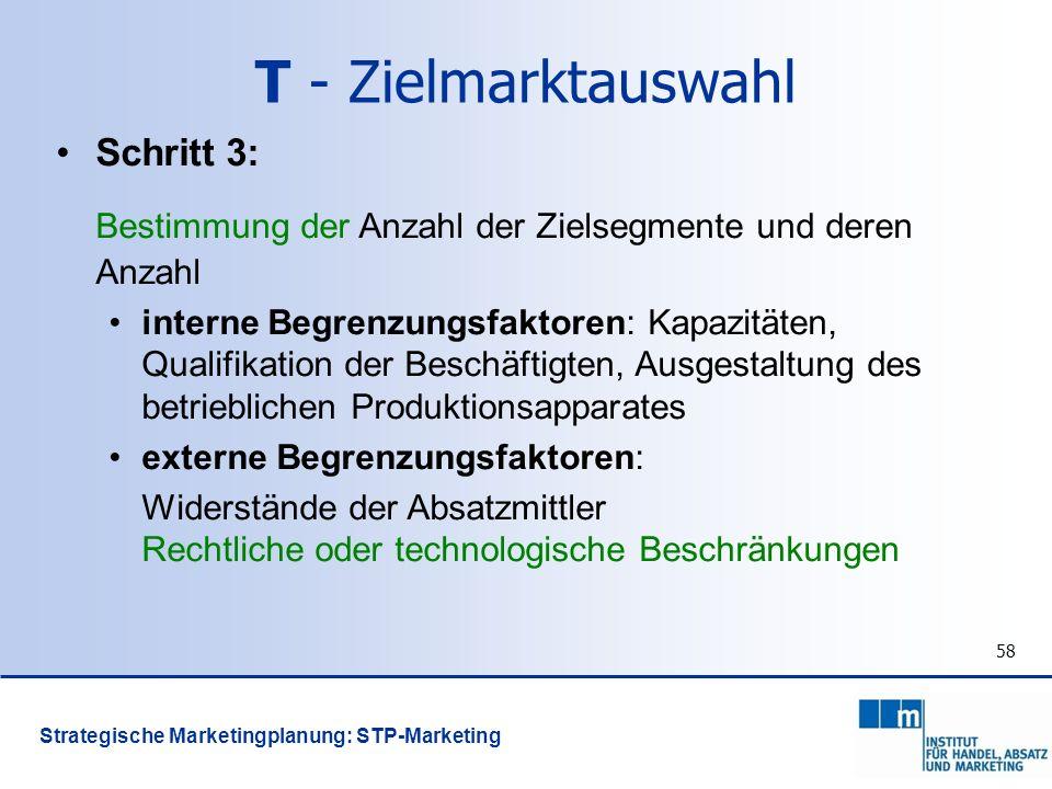 58 Schritt 3: Bestimmung der Anzahl der Zielsegmente und deren Anzahl interne Begrenzungsfaktoren: Kapazitäten, Qualifikation der Beschäftigten, Ausge