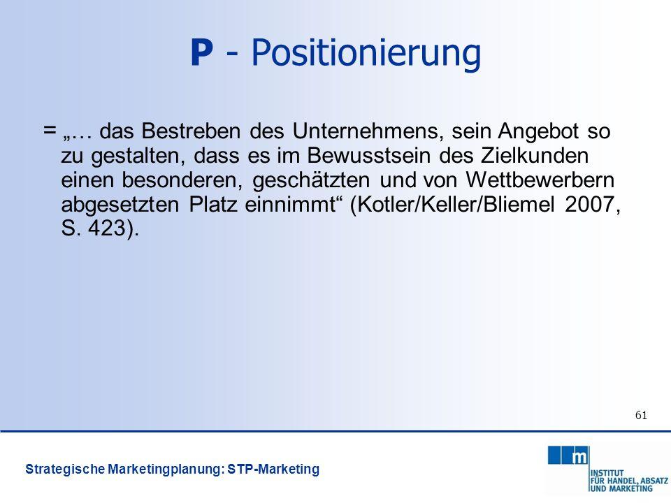 61 P - Positionierung = … das Bestreben des Unternehmens, sein Angebot so zu gestalten, dass es im Bewusstsein des Zielkunden einen besonderen, geschä