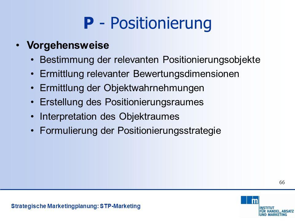 66 Vorgehensweise Bestimmung der relevanten Positionierungsobjekte Ermittlung relevanter Bewertungsdimensionen Ermittlung der Objektwahrnehmungen Erst