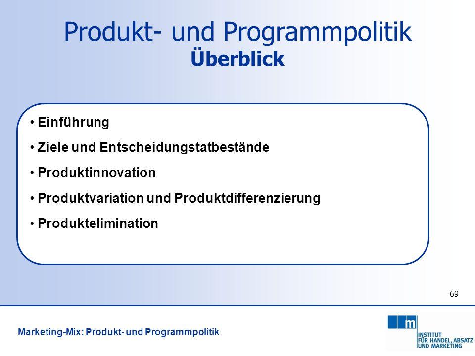 69 Produkt- und Programmpolitik Überblick Einführung Ziele und Entscheidungstatbestände Produktinnovation Produktvariation und Produktdifferenzierung