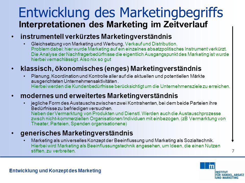 8 Grundidee des Marketing Market-Based View (MBV) dauerhafter Unternehmenserfolg abhängig: von der Struktur von Märkten vom Verhalten des Unternehmens Ein Unternehmen sichert sich dauerhaften Erfolg wenn es sich geeignet in attraktiven Märkten (=Märkte mit geringem Wettbewerb und hoher Zahlungsbereitschaft der Nachfrager) positioniert und einen Wettbewerbsvorteil erlangt.