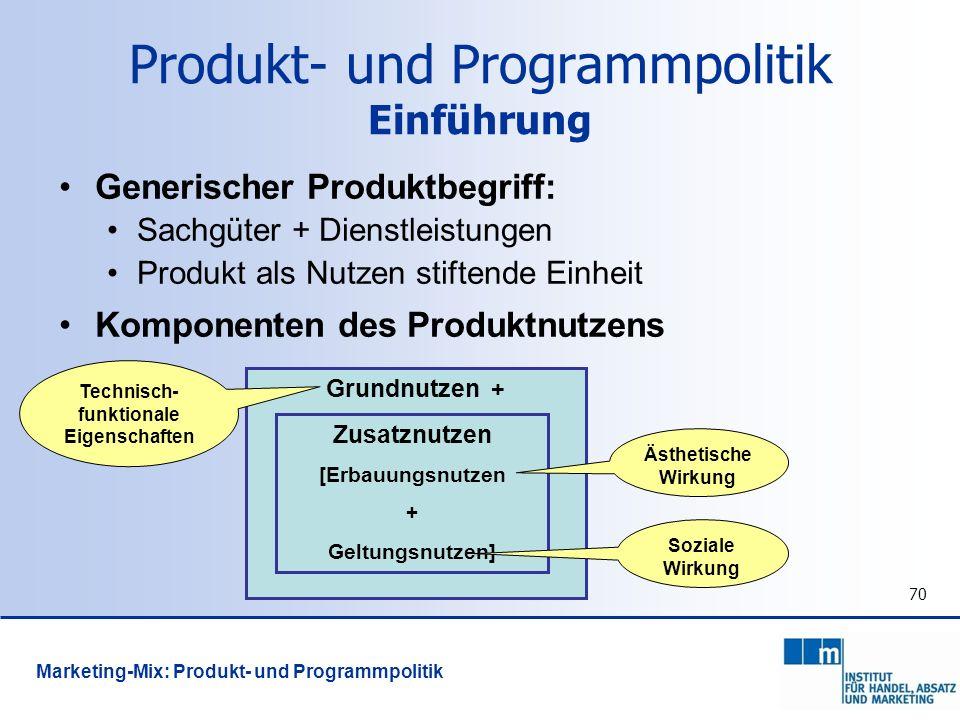 70 Produkt- und Programmpolitik Einführung Generischer Produktbegriff: Sachgüter + Dienstleistungen Produkt als Nutzen stiftende Einheit Komponenten d