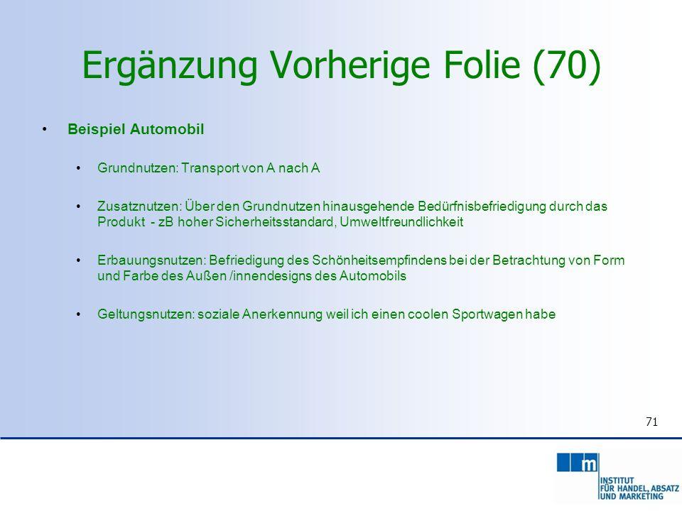 Ergänzung Vorherige Folie (70) Beispiel Automobil Grundnutzen: Transport von A nach A Zusatznutzen: Über den Grundnutzen hinausgehende Bedürfnisbefrie