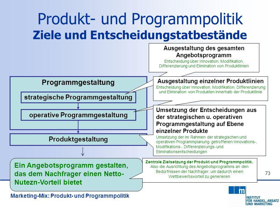 73 Programmgestaltung strategische Programmgestaltung operative Programmgestaltung Produktgestaltung Ausgestaltung des gesamten Angebotsprogramm Entsc