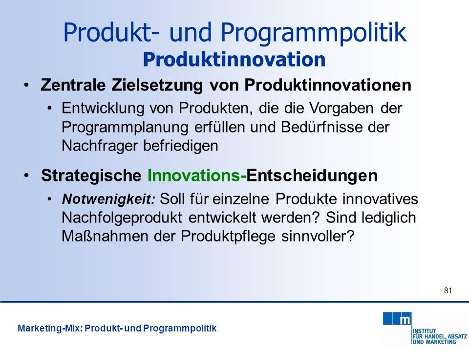 81 Zentrale Zielsetzung von Produktinnovationen Entwicklung von Produkten, die die Vorgaben der Programmplanung erfüllen und Bedürfnisse der Nachfrage
