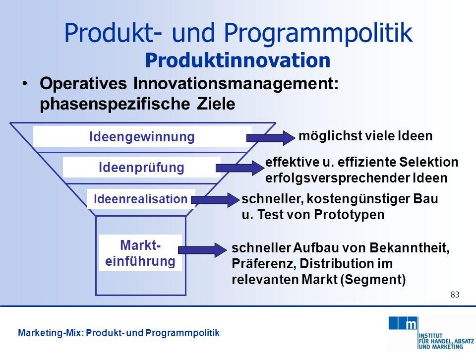 83 Operatives Innovationsmanagement: phasenspezifische Ziele Ideengewinnung Ideenprüfung Ideenrealisation Markt- einführung möglichst viele Ideen effe