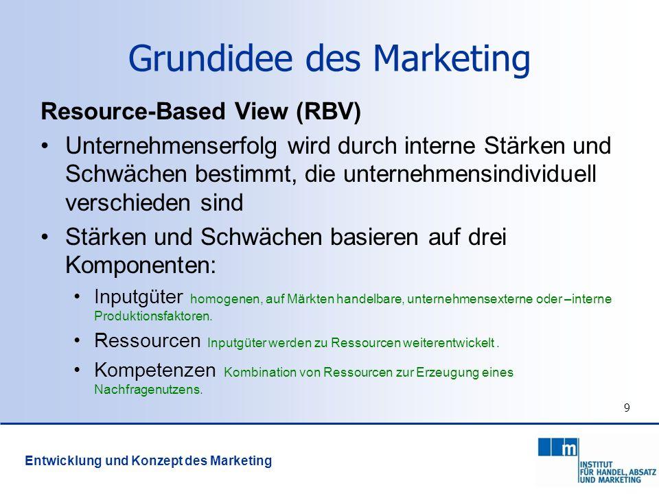 9 Grundidee des Marketing Resource-Based View (RBV) Unternehmenserfolg wird durch interne Stärken und Schwächen bestimmt, die unternehmensindividuell