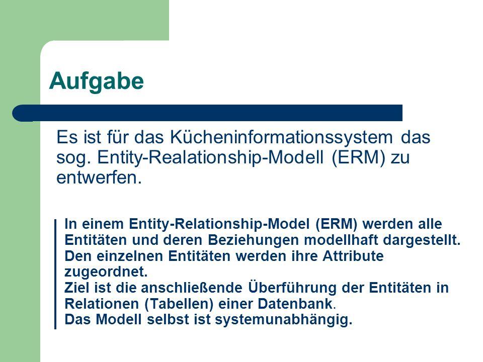 Aufgabe Es ist für das Kücheninformationssystem das sog. Entity-Realationship-Modell (ERM) zu entwerfen. In einem Entity-Relationship-Model (ERM) werd