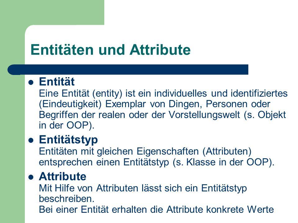 Entitäten und Attribute Entität Eine Entität (entity) ist ein individuelles und identifiziertes (Eindeutigkeit) Exemplar von Dingen, Personen oder Beg