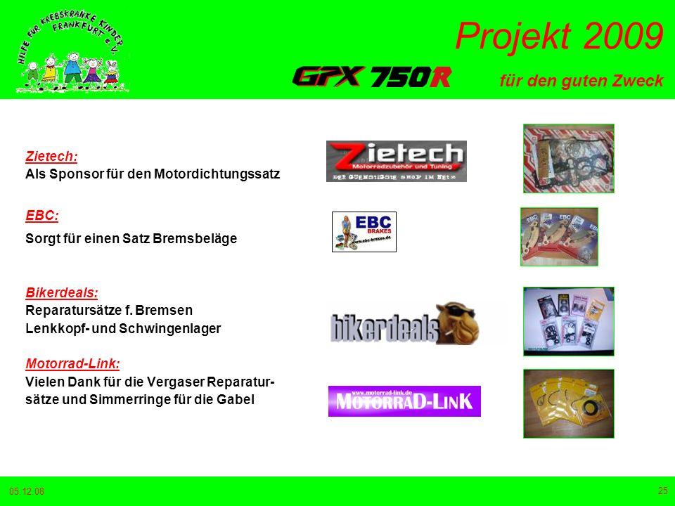 für den guten Zweck Projekt 2009 05.12.08 25 Zietech: Als Sponsor für den Motordichtungssatz EBC: Sorgt für einen Satz Bremsbeläge Bikerdeals: Reparatursätze f.