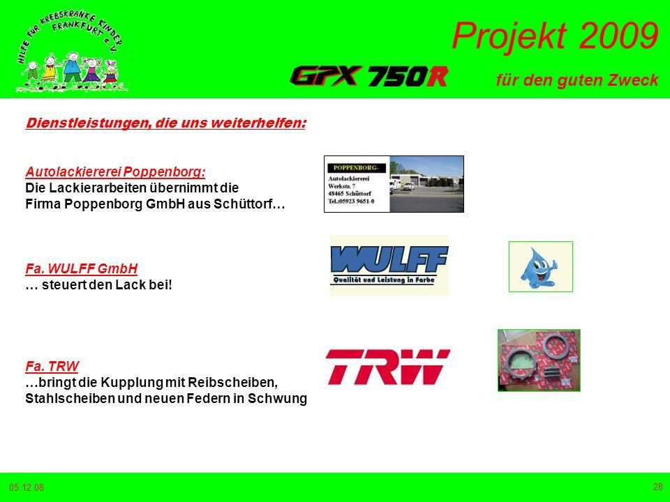 für den guten Zweck Projekt 2009 05.12.08 28 Dienstleistungen, die uns weiterhelfen: Autolackiererei Poppenborg: Die Lackierarbeiten übernimmt die Firma Poppenborg GmbH aus Schüttorf… Fa.