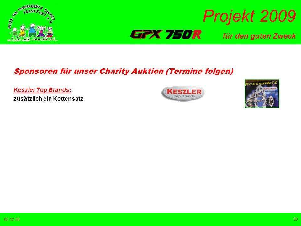 für den guten Zweck Projekt 2009 05.12.08 30 Sponsoren für unser Charity Auktion (Termine folgen) Keszler Top Brands: zusätzlich ein Kettensatz