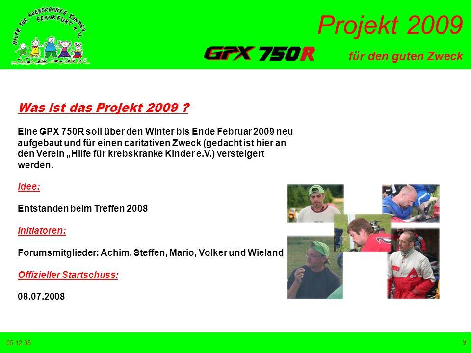 für den guten Zweck Projekt 2009 05.12.08 20 23.10.2008 Die ersten Teile sind in Straubing eingetroffen.