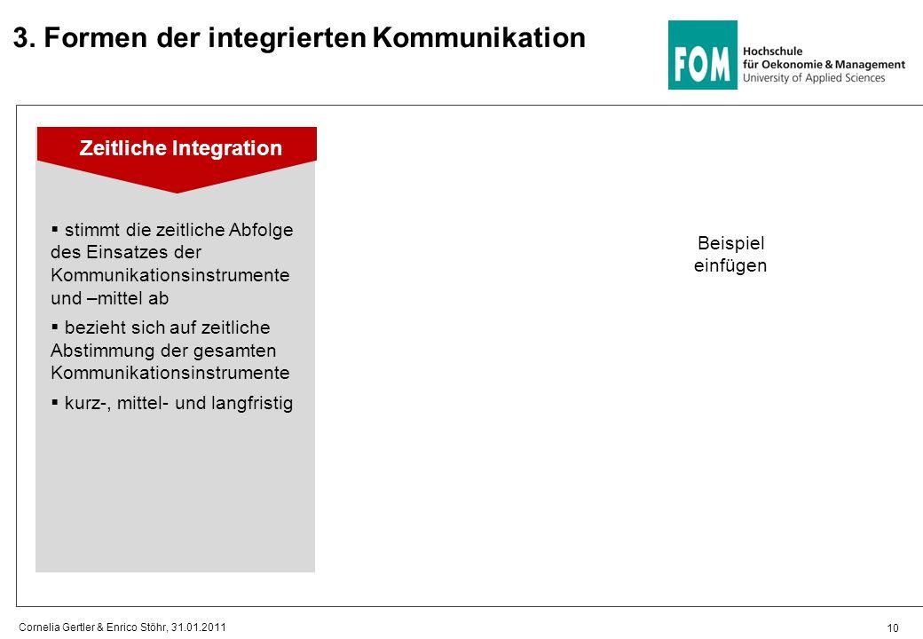 10 Cornelia Gertler & Enrico Stöhr, 31.01.2011 Zeitliche Integration Beispiel einfügen 3.