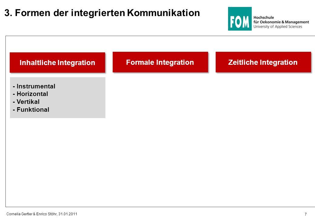3. Formen der integrierten Kommunikation Inhaltliche Integration 7 Cornelia Gertler & Enrico Stöhr, 31.01.2011 Formale Integration Zeitliche Integrati