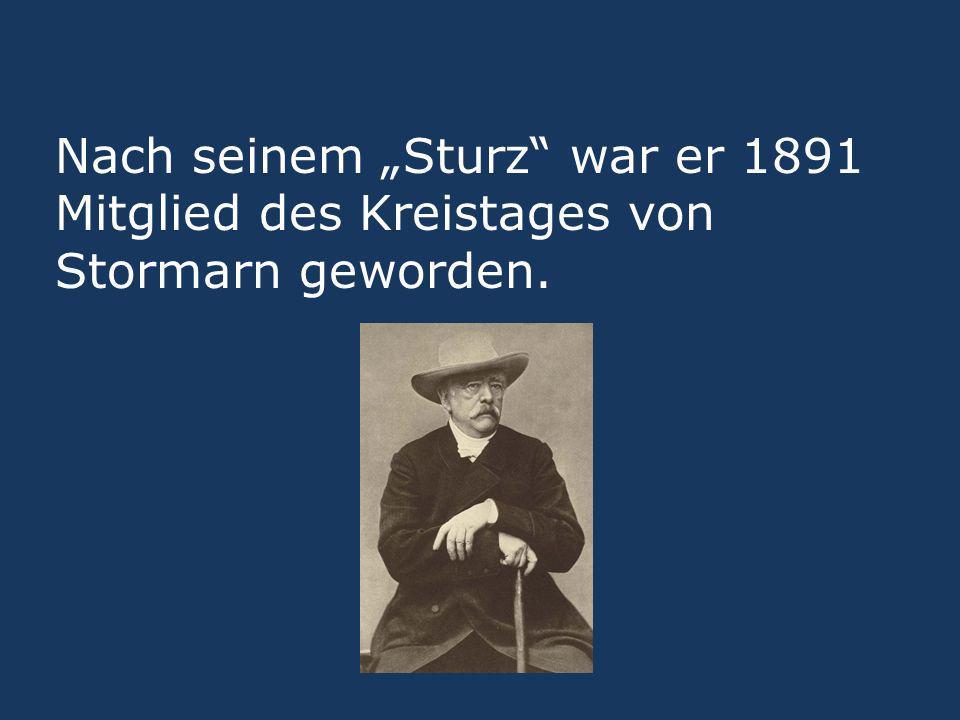 Nach seinem Sturz war er 1891 Mitglied des Kreistages von Stormarn geworden.