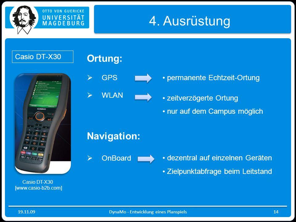 19.11.09DynaMo - Entwicklung eines Planspiels14 4. Ausrüstung Ortung: GPS WLAN permanente Echtzeit-Ortung Navigation: OnBoard zeitverzögerte Ortung nu