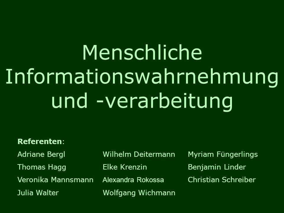 Menschliche Informationswahrnehmung und -verarbeitung Referenten: Adriane BerglWilhelm DeitermannMyriam Füngerlings Thomas HaggElke KrenzinBenjamin Li