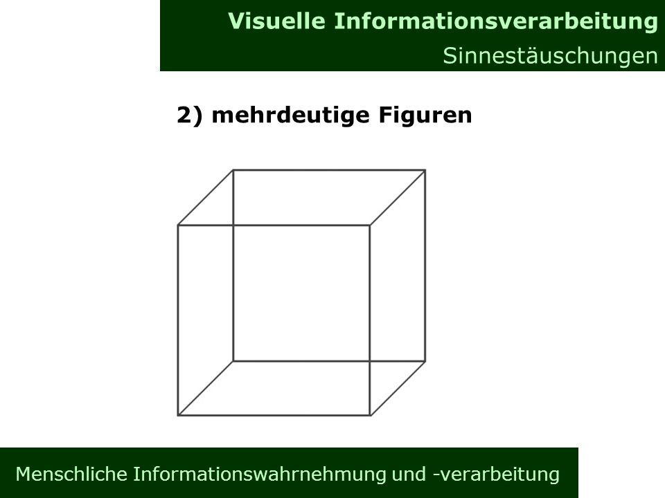 Menschliche Informationswahrnehmung und -verarbeitung Informationsverarbeitung im Gehirn Allgemeines Visuelle Informationsverarbeitung Sinnestäuschungen 2) mehrdeutige Figuren
