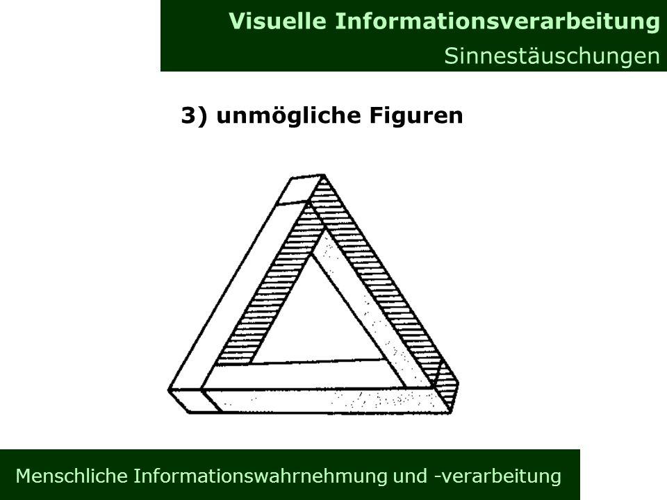 Menschliche Informationswahrnehmung und -verarbeitung Informationsverarbeitung im Gehirn Allgemeines Visuelle Informationsverarbeitung Sinnestäuschungen 3) unmögliche Figuren