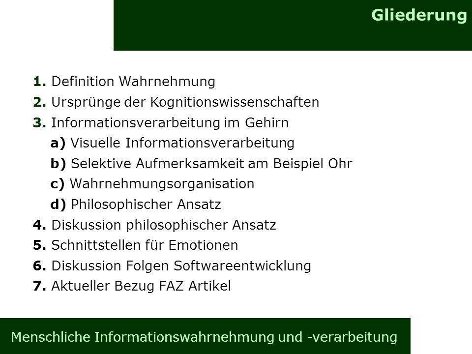 Gliederung Menschliche Informationswahrnehmung und -verarbeitung 1. Definition Wahrnehmung 2. Ursprünge der Kognitionswissenschaften 3. Informationsve
